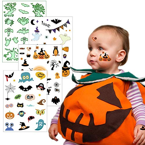 Halloween Temporary Tattoos for Kids, Fake Face Tattoos 4 Sheets for Trick or Treat Bags for Children Birthday Party Favor Fall Festival, VIWIEU Glow in the Dark Waterproof Body Stickers for Women -