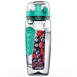Fruit Infuser Water Bottle Large 32oz by Danum - New Full Length Infusion Basket, Leak-proof, Flip-Top, Dual Hand Grips, made of BPA-Free Eastman Tritan with Multiple Color Options & Free Recipe Ebook