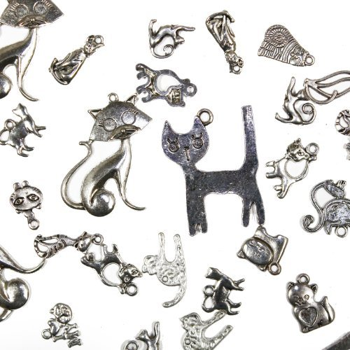 (25 pcs Mixed antique Silver Cats and Kitties, Charms and Pendants)