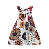 BESTOPPEN Toddler Baby Girls Cotton Bohemian Princess Party Dress Girl Cute Backless Flower Printing Swing Dresses Tutu Sleeveless Beach Sundress Dress Clothes For 2-6 Years Old (100/2T, White)