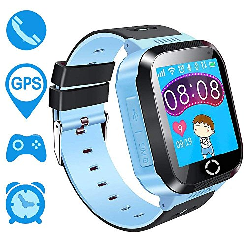 Kids Smart Watch for Children Girls Boys Digital Watch with Anti-Lost SOS Button GPS Tracker Smartwatch Great Gift for Children Pedometer Smart Wrist Watch for iOS Android (Blue-A15)