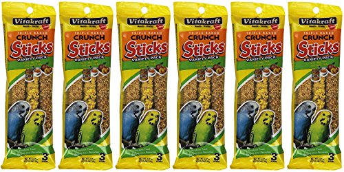 Vitakraft Kracker Sticks Treat Variety Pack for Parakeet (6 Packs / 3 Sticks Per Pack)