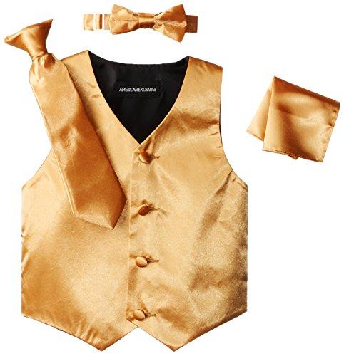 American Exchange Little Boys' Toddler Satin 4 Piece Vest Set, Gold, 2T