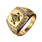 PMTIER Men's Cubic Zirconia Masonic Freemason Gold Plated Stainless Steel Rings