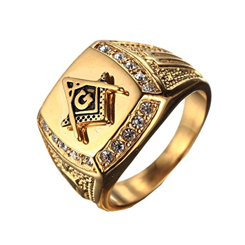 PMTIER Men's Cubic Zirconia Masonic Freemason Gold...