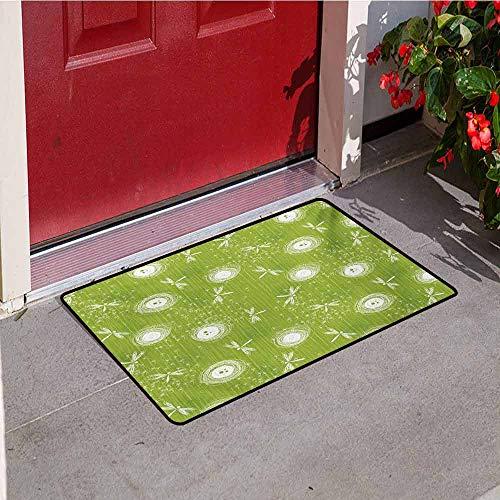 (Jinguizi Dragonfly Front Door mat Carpet Sketch Style Dandelion Flower Petals Spring Beauty Nature Blossom Image Machine Washable Door mat W19.7 x L31.5 Inch Lime Green Cream)