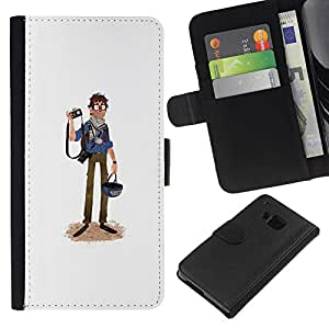 ZCell / HTC One M9 / Journalist Caricature Tourist Photography Art / Caso Shell Armor Funda Case Cover Wallet / Periodista Caricatura Turismo Fot