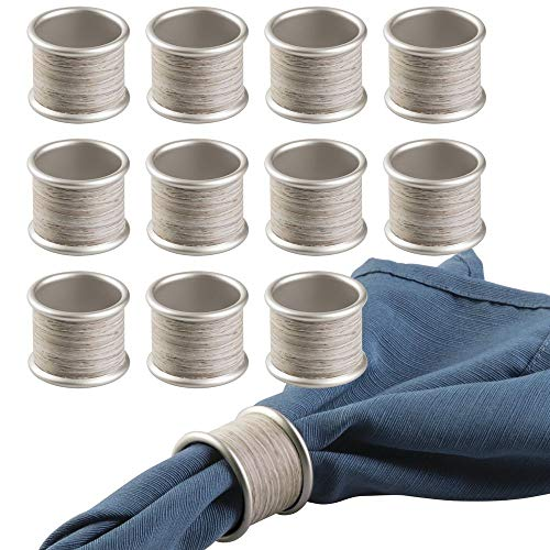 mDesign Round Modern Rustic Metal Napkin Rings for Home, Kitchen, Dining Room, Dinner Parties, Luncheons, Picnics, Weddings, Buffet Table - 12 Pack - Satin/Gray Wood Finish (Napkin Ring)