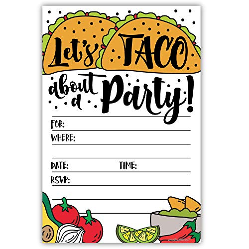 Taco About a Party Invitations (20 Count) with Envelopes - Fiesta Shower or Birthday Party