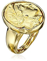 Kenneth Jay Lane Polished and Satin Gold-Tone Adjustable Ring, Size 5-7