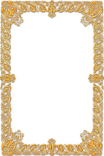 Gifts Delight LAMINATED 24x36 inches Poster: Frame Ornate Gold Vintage Portrait Picture Empty Aged Deco Elegance Exhibition Framework Photo Photography Wall Antique Design Retro Border Classic