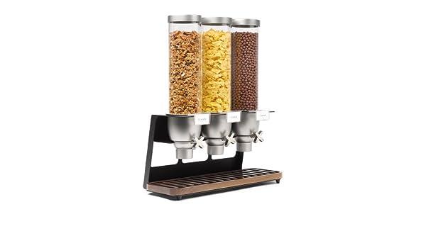 Rosseto EZ520 Triple contenedor ez-serv tablero de mesa dispensador de cereales con bandeja de nogal, 3,9 L: Amazon.es: Amazon.es