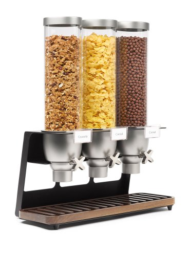 Rosseto EZ520 Triple Container EZ-SERV Table-Top Cereal Dispenser with Walnut Tray, 3.9 Gallon by Rosseto