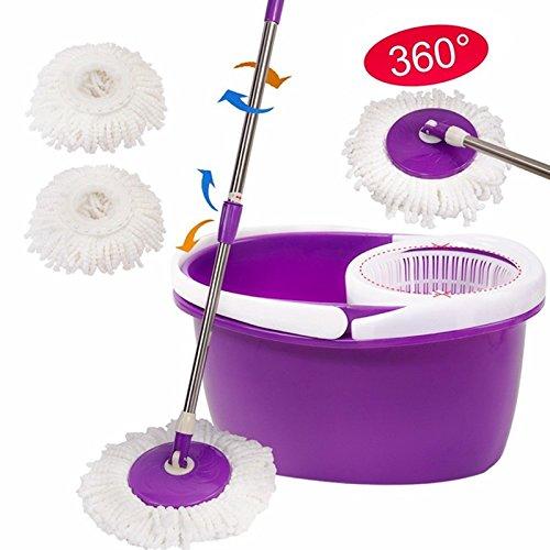 Easy Magic Floor Mop 360° Bucket 2 Heads Microfiber Spin Spinning Rotating Head TKT-11