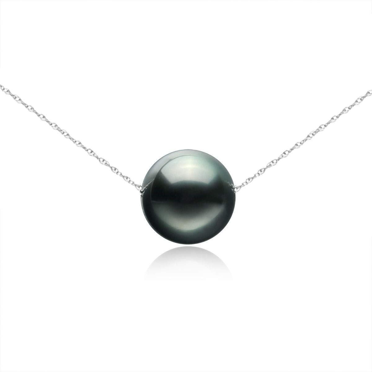14K Gold 8-9mm Tahitian South Sea Cultured Floating Pearl Tin Cup Chain Necklace Jewelry for Women 17'' by Splendid Pearls