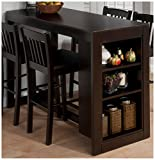 Jofran 810-48 Maryland Merlot Counter Height Table with 3 Shelves for Storage