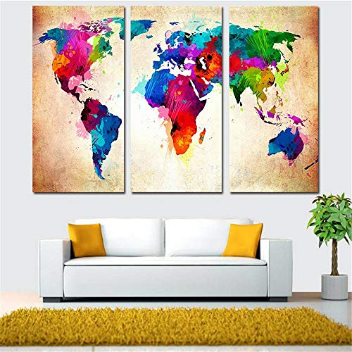 BFY Frameless Huge Wall Art Oil Painting On Canvas Colorful World Map Home Decor by BFY (Image #1)