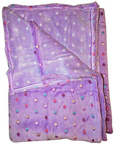 Noble House Velvet Ultra Soft Plush Blanket Fluffy Cozy Fleece Throw Perfect Size for Couch Chair Sofa Bed - Oversized (Purple Polka Dot 60