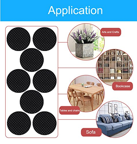 SANSUM Anti Slip Furniture Felt Pads Grippers-1\'\' Round 40 Pack Self Adhesive Furniture Feet Grabs Rubber Pads Hardwood Protector