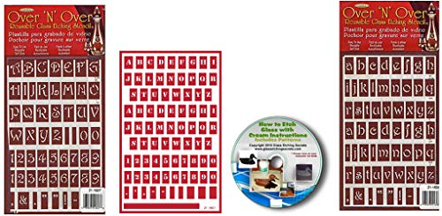 Uppercase, Lowercase & Small Letter Stencils: 3 Pack Fonts with Numbers- Flexible, Adhesive Backed Reusable Stencils with Free CD