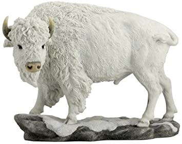 10.75 Inch Large Bison Standing Decorative Statue Figurine, White