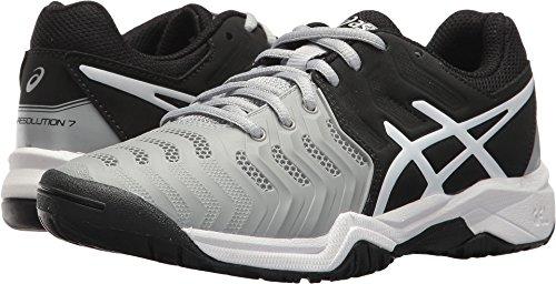 (ASICS Kids' Gel-Resolution 7 GS Tennis Shoe, Mid Grey/Black/White (6)