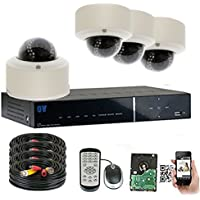 GW Security 4CH HD DVR Security System, QR-Code Connection, 4 Day Night 2400TVL High Resolution Weatherproof 2.8~12mm Varifocal Dome Cameras CCTV Surveillance System 1TB HDD