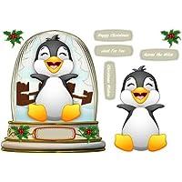 Bola de nieve con, feliz de pingüino, 1by