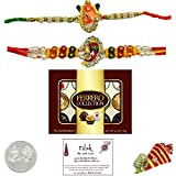 2 Ganesh Rakhi Bundle Set with 12 Piece Ferrero Collection Chocolates and Laxmi Ganesh Coin - Exact Designs will be sent