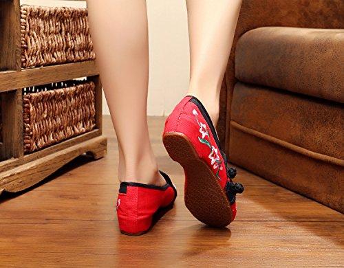 de moda bordados estilo Chnuo del red étnico tendón casual femenina Zapatos del lenguado dentro tela zapatos cómodo aumento XpPBn8B