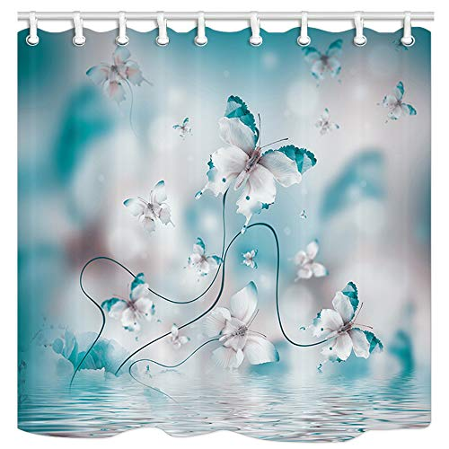 JAWO Butterflies Irises Flowers Shower Curtain Set, Butterfly on River Spa, Polyester Fabric Waterproof Bathroom Bath Curtains, 12 Hooks Included 69x70inches (Shower Curtains Butterfly)