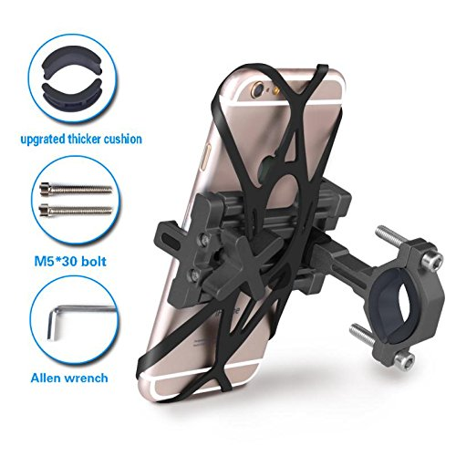 SpoLite Chrome Bike Phone Mount for Motorcycle-Bike-Bicycle Handlebars,Adjustable,Bike Phone Holder Fits Cell Phone iPhone X,8|8 Plus,7|7 Plus,6s|6s Plus,Galaxy S7,S6 For Cycling. (BM04 Black) by SpoLite (Image #2)