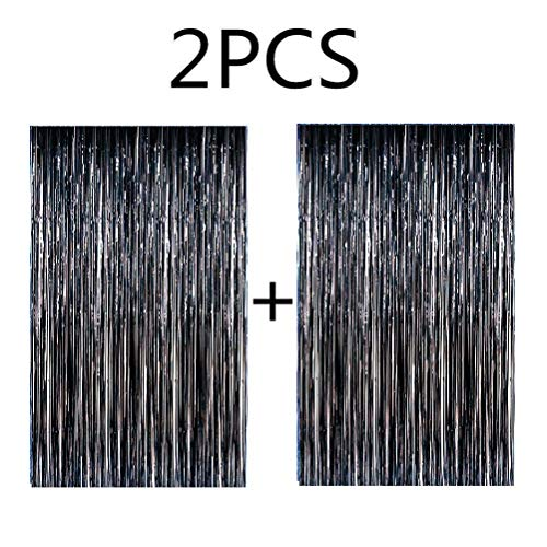 Blukey 2pcs 3ftx8ft Black Metallic Tinsel Foil Fringe Curtain]()