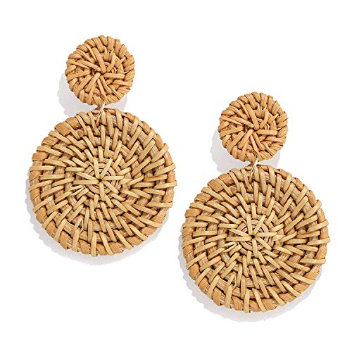 CEALXHENY Rattan Earrings for Women Handmade Straw Wicker Braid Drop Dangle Earrings Lightweight Geometric Statement Earrings (C Double Disc)