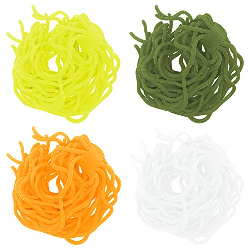 SAMSFX Fly Tying Materials Squirmy Wormy Soft Worm Lures Flie Making Assorted Colors (Olive, FI Orange and White, ()