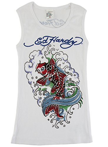 Ed Hardy Koi Tank Top for Girls -White - 10 ()