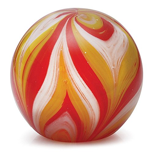 Glass Handmade Small Paperweight – Feathers, Yellow and Red Glow – 2 tall. FREE SHIPPING to the lower 48 when you spend over $35.00