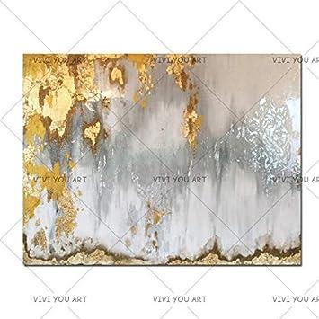 ZHUAIBA Pintura Al Óleo Pintada Arte abstracto de la hoja de oro con Ombre gris y blanco. Cuadros al óleo hechos a mano de lienzo de araña blanco y plateado 100% a mano 40x60 cm