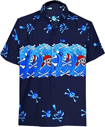 LA LEELA Button up Shirts Men Hawaii Vacation Camp Short Sleeve Blue_W153 3XL -