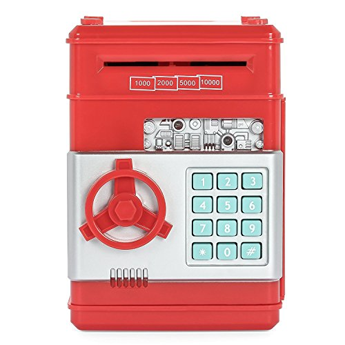 Stylebeauty Electronic Password Piggy BankCash Coin Can Money Locker Auto Insert Bills Safe Box Password ATM Bank Saver Birthday Gifts for Kids ( RED )