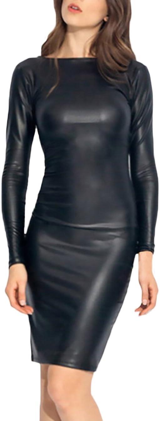 Mujer Vestidos Elegantes Sintético Cuero Vestido Coctel La Rodilla Sencillos Especial Manga Larga Cuello Redondo Delgado Paquete Vestido Skinny Vestidos De Noche Vestidos De Bola Negro Estilo