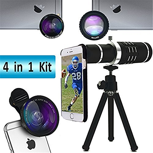 Telephoto Lens for iPhone 8/8 Plus Lingwei iPhone 7/7 PlusTelescope Camera Lens Kits with 18X Telephoto Lens / Wide angle Lens / Fisheye Lens / Macro Lens / Universal Clips/Tripod/iPhone Case