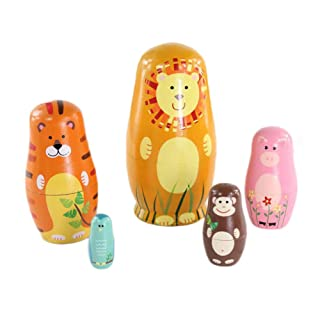 Crewell 5pz/Set Bambini Giocattoli Animali in Legno Matrioska Matrioska Handmade Crafts Toy Kid Gifts