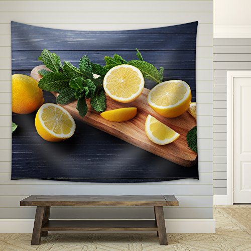 Lemon and Mint Leaves Served on Wooden Kitchen Board on Black Rustic Table Fabric Wall Tapestry