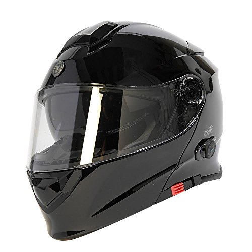 TORC Unisex-Adult Full-face Style T28B Bluetooth Integrated Motorcycle Helmet With Graphic (Gloss Black, LARGE)