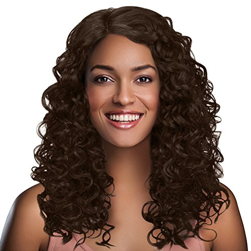 "Search : Long Afro Kinky Curly Lace Front Wigs,L Part Heat Resistance Synthetic Brazilian Hair Wig for African American Black Women 20"" Brown"