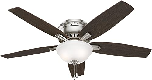 Hunter Fan Company 53315 Hunter Newsome Indoor Low Profile Ceiling Fan with LED Light and Pull Chain Control, 52 , Brushed Nickel