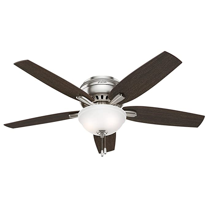 "Hunter 53315 Newsome Ceiling Fan with Light, 52""/Large, Brushed Nickel"