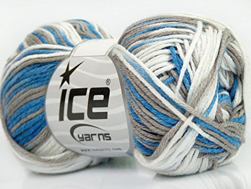 Lot of 8 Skeins Ice Yarns BAMBOO COTTON COLOR (50% Bamboo 50% Cotton) Yarn Blue Grey White
