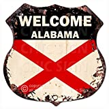 Chic Sign WELCOME ALABAMA FLAG Vintage Retro Rustic 11.5″x 11.5″ Shield Metal Plate Store Home Room Wall Decor Gift For Sale